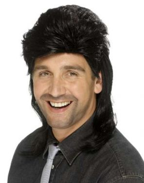 80s Jason Mullet Fancy Dress Wig - Black